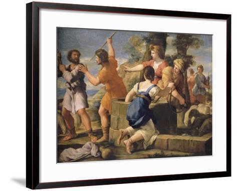 Moïse et les filles de Jethro-Giovanni Francesco Romanelli-Framed Art Print