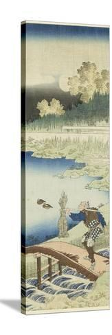 Miroir des vers chinois et japonais : Tokusa gari (paysan portant des joncs)-Katsushika Hokusai-Stretched Canvas Print