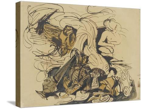 Objets divers, coin de lit à tête d'éléphant et femme nue-Eugene Delacroix-Stretched Canvas Print