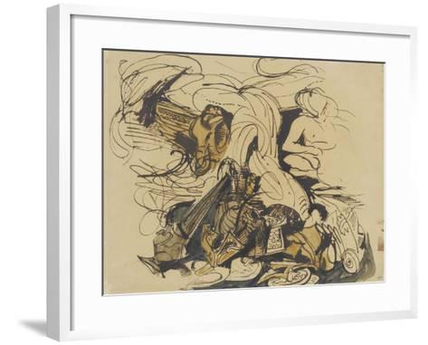 Objets divers, coin de lit à tête d'éléphant et femme nue-Eugene Delacroix-Framed Art Print