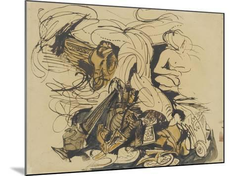 Objets divers, coin de lit à tête d'éléphant et femme nue-Eugene Delacroix-Mounted Giclee Print