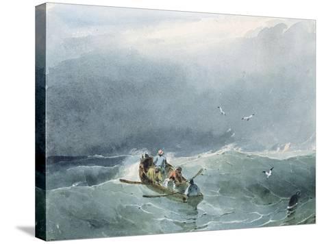 Marine, barque avec cinq marins sur une mer un peu agitée-Richard Parkes Bonington-Stretched Canvas Print