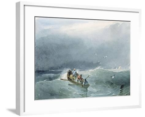 Marine, barque avec cinq marins sur une mer un peu agitée-Richard Parkes Bonington-Framed Art Print