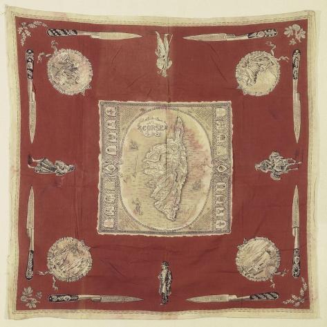 """Mouchoir de cou """"souvenir de la Corse"""" à dominante rouge--Stretched Canvas Print"""