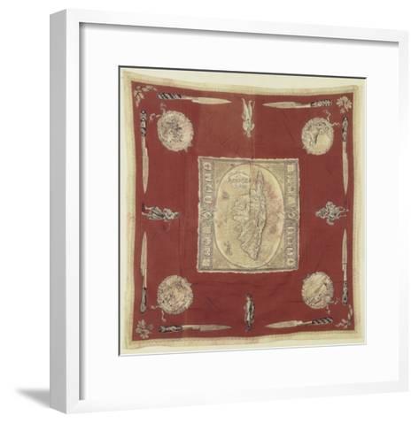 """Mouchoir de cou """"souvenir de la Corse"""" à dominante rouge--Framed Art Print"""