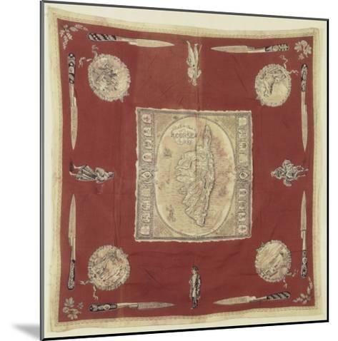 """Mouchoir de cou """"souvenir de la Corse"""" à dominante rouge--Mounted Giclee Print"""