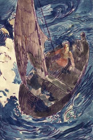 Album Noa-Noa : Homme dans une barque-Paul Gauguin-Stretched Canvas Print