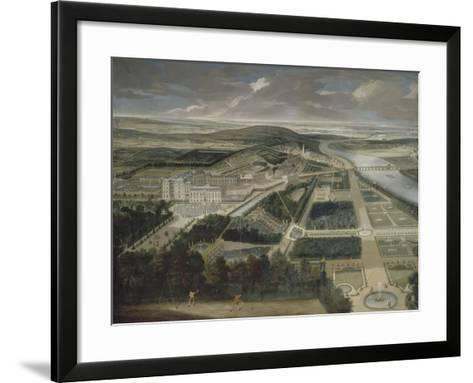 Vue cavalière du château, jardins bas et de la ville de Saint-Cloud-Etienne Allegrain-Framed Art Print