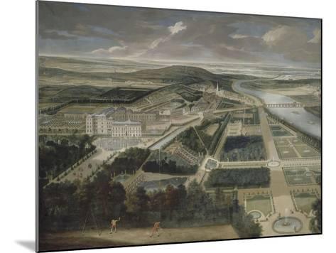 Vue cavalière du château, jardins bas et de la ville de Saint-Cloud-Etienne Allegrain-Mounted Giclee Print