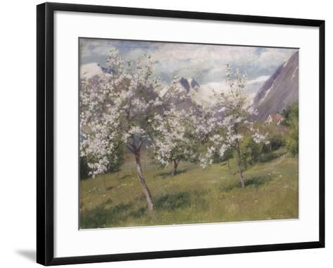 Norvège, verger en fleur (Harland) .1898-Johannes Martin Grimelund-Framed Art Print