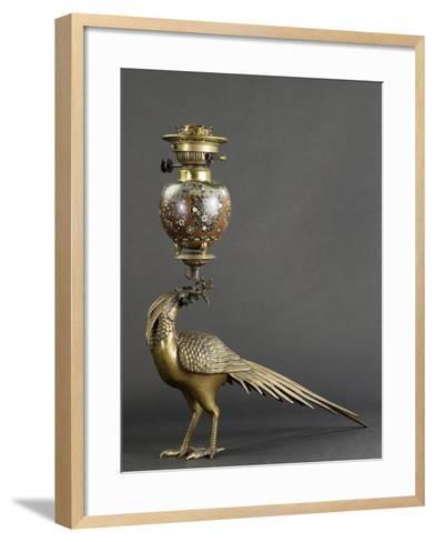 Lampe à pétrole soutenue par un faisan--Framed Art Print