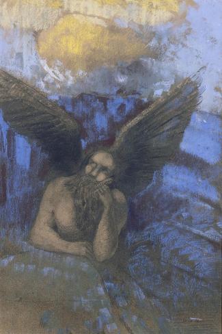 Vieil ange-Odilon Redon-Stretched Canvas Print