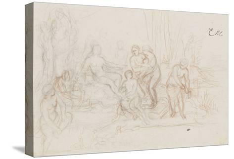 Moïse sauvé des eaux-Charles Le Brun-Stretched Canvas Print