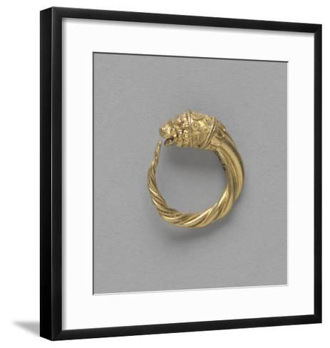 Pair of Earrings, Ring Terminated by a Gold Lion Head--Framed Art Print