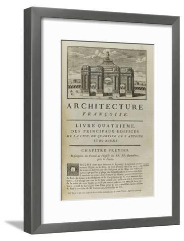 Page  99 : page de titre du Livre Quatrième . Vue de l'arc de triomphe en l'honneur de Louis XIV-Pate-Framed Art Print
