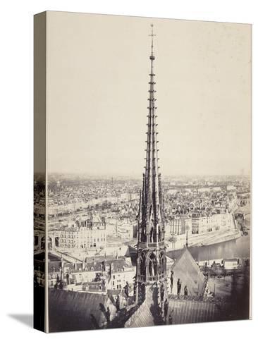 Paris, Flèche de Notre-Dame, en plomb et cuivre martelé, Viollet le Duc-Charles Marville-Stretched Canvas Print