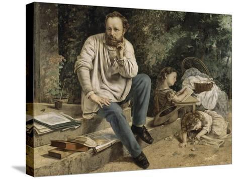 Pierre-Joseph Proudhon et ses enfants en 1853-Gustave Courbet-Stretched Canvas Print