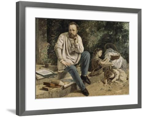 Pierre-Joseph Proudhon et ses enfants en 1853-Gustave Courbet-Framed Art Print
