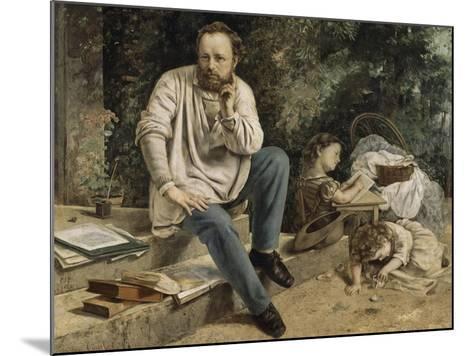 Pierre-Joseph Proudhon et ses enfants en 1853-Gustave Courbet-Mounted Giclee Print