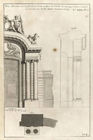 Planche 104 : Plan élévation et profil de la porte cochère de l'Hôtel de Lassay-Jacques-Fran?ois Blondel-Stretched Canvas Print