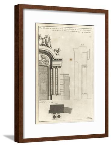 Planche 104 : Plan élévation et profil de la porte cochère de l'Hôtel de Lassay-Jacques-Fran?ois Blondel-Framed Art Print
