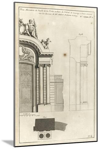 Planche 104 : Plan élévation et profil de la porte cochère de l'Hôtel de Lassay-Jacques-Fran?ois Blondel-Mounted Giclee Print