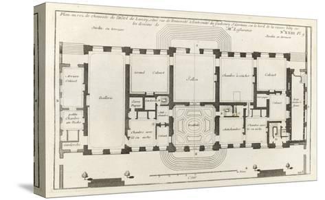 Planche 105 : Plan du rez-de-chaussée de l'Hôtel de Lassay, rue de l'Université à Paris.-Jacques-Fran?ois Blondel-Stretched Canvas Print