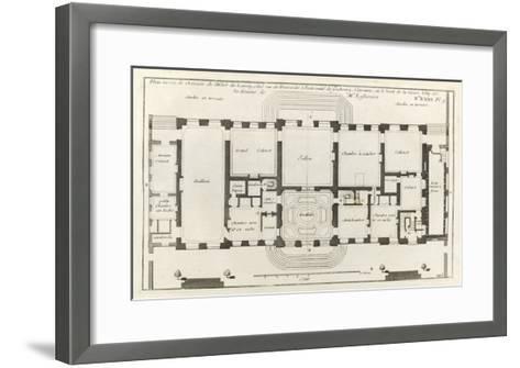 Planche 105 : Plan du rez-de-chaussée de l'Hôtel de Lassay, rue de l'Université à Paris.-Jacques-Fran?ois Blondel-Framed Art Print
