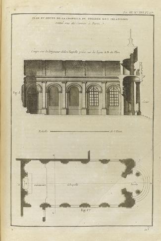 Planche 213 : Plan et coupe de la chapelle du collège des Irlandais , rue des Carmes à Paris-Pate-Stretched Canvas Print