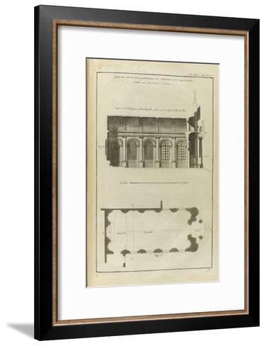 Planche 213 : Plan et coupe de la chapelle du collège des Irlandais , rue des Carmes à Paris-Pate-Framed Art Print