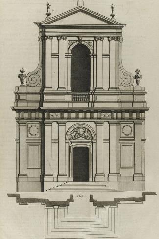 Planche 221 : Elévation du portail de l'église du couvent des Barnabites-Jacques-Fran?ois Blondel-Stretched Canvas Print