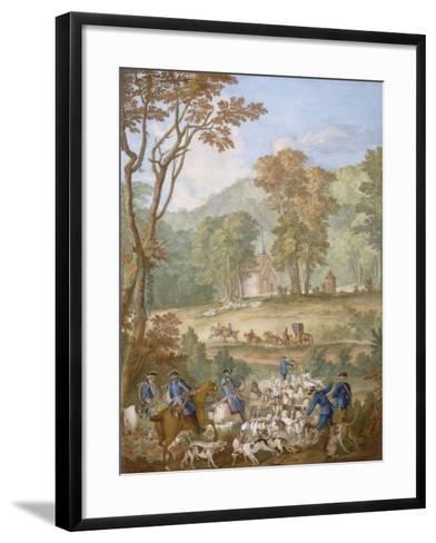 Plaque représentant les chasses de Louis XVI-Jean Baptiste Oudry-Framed Art Print