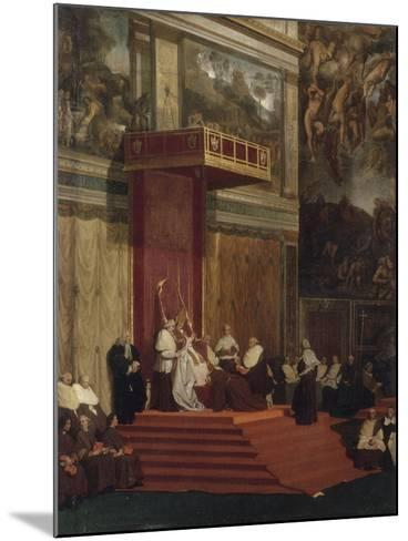 Le Pape Pie VII tenant chapelle-Jean-Auguste-Dominique Ingres-Mounted Giclee Print