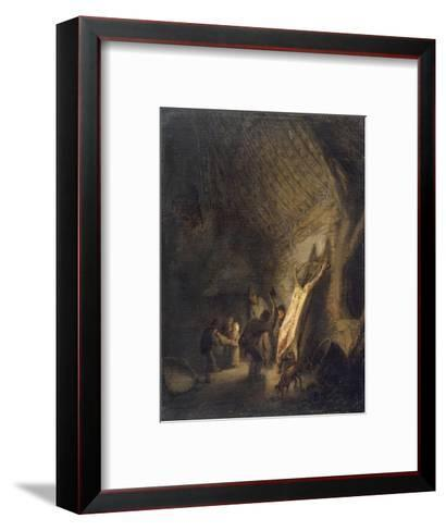 L'abattage du porc-Adrien Van Ostade-Framed Art Print