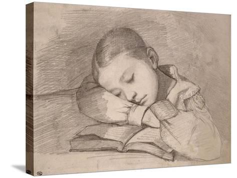 Portrait de Juliette Courbet endormie sur son livre-Gustave Courbet-Stretched Canvas Print