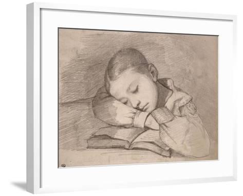 Portrait de Juliette Courbet endormie sur son livre-Gustave Courbet-Framed Art Print