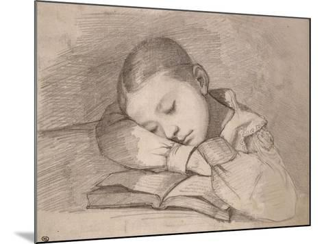 Portrait de Juliette Courbet endormie sur son livre-Gustave Courbet-Mounted Giclee Print