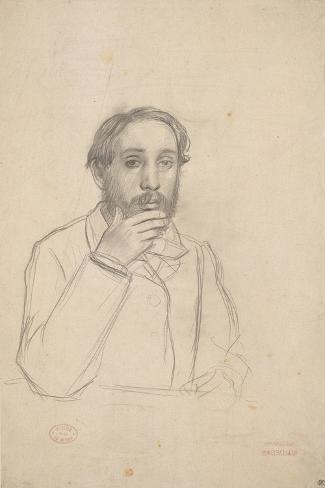 Portrait de l'artiste, étude pour le portrait de l'artiste avec Evariste de Valernes-Edgar Degas-Stretched Canvas Print