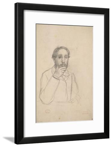 Portrait de l'artiste, étude pour le portrait de l'artiste avec Evariste de Valernes-Edgar Degas-Framed Art Print