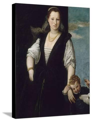 Portrait de femme avec un enfant et un chien (les enfants de Francesco Bevilacqua ?)-Paolo Veronese-Stretched Canvas Print