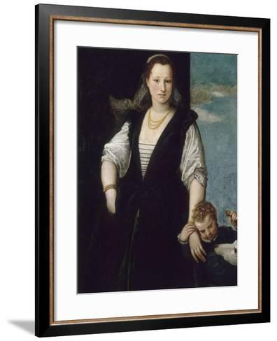 Portrait de femme avec un enfant et un chien (les enfants de Francesco Bevilacqua ?)-Paolo Veronese-Framed Art Print