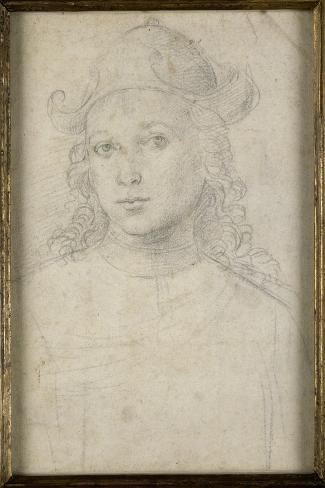 Portrait de jeune homme, en buste, vu de face, coiffé d'un chapeau-Raffaello Sanzio-Stretched Canvas Print