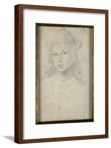 Portrait de jeune homme, en buste, vu de face, coiffé d'un chapeau-Raffaello Sanzio-Framed Art Print