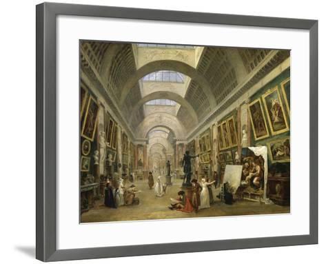 Projet d'aménagement de la Grande Galerie du Louvre en 1796-Hubert Robert-Framed Art Print