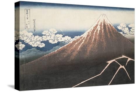 Pluie d'orage sous le sommet du Fuji-Katsushika Hokusai-Stretched Canvas Print