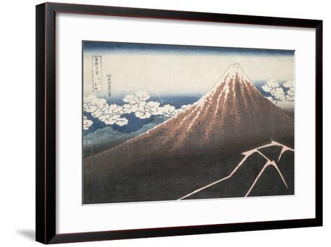 Pluie d'orage sous le sommet du Fuji-Katsushika Hokusai-Framed Art Print