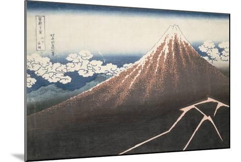 Pluie d'orage sous le sommet du Fuji-Katsushika Hokusai-Mounted Giclee Print
