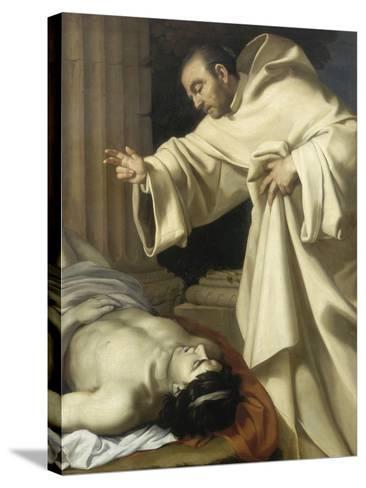 Saint Bernard ressuscitant un mort-Aubin Vouet-Stretched Canvas Print