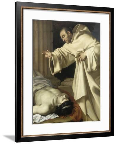 Saint Bernard ressuscitant un mort-Aubin Vouet-Framed Art Print