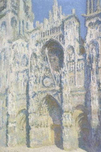 Cathédrale de Rouen, le portail et la tour Saint Romain, plein soleil, harmonie bleue et or-Claude Monet-Stretched Canvas Print